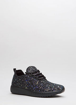Run Toward Glitter Platform Sneakers