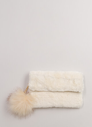 Pom-Pom Reader Faux Fur Clutch