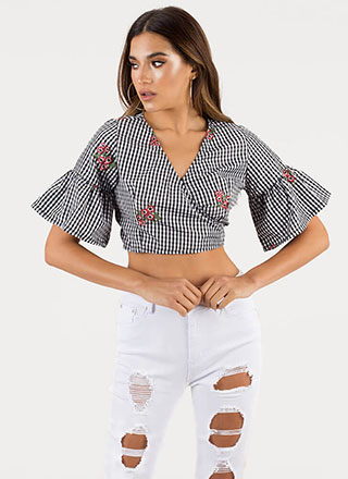 Gingham Style Cropped Wrapped Blouse
