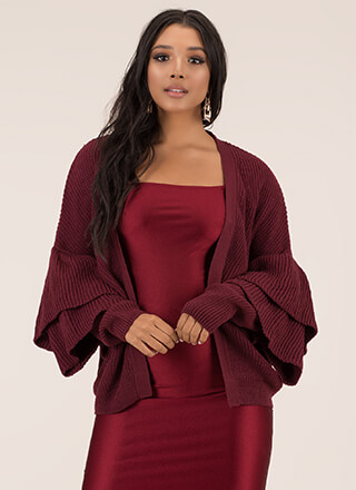 Double Time Ruffle Sleeve Knit Cardigan