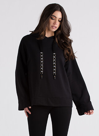 Shine Through Jeweled Drawstring Hoodie