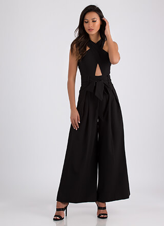 Cross Your Mind Cut-Out Palazzo Jumpsuit