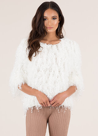 All The Fuzz Shaggy Fringe Sweater
