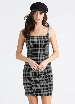 Crossing The Lines Grid Print Dress