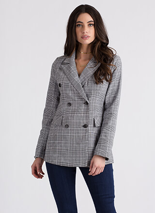 Plaid Day Double-Breasted Blazer