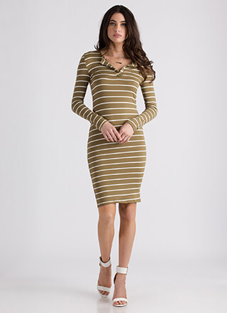 Fun Day Out Striped Snap Button Dress
