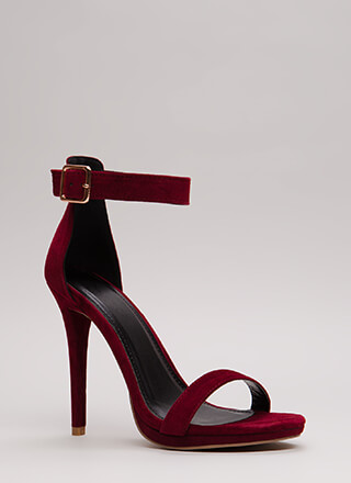 Simple Solution Strappy Faux Suede Heels