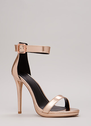 Simple Solution Strappy Metallic Heels