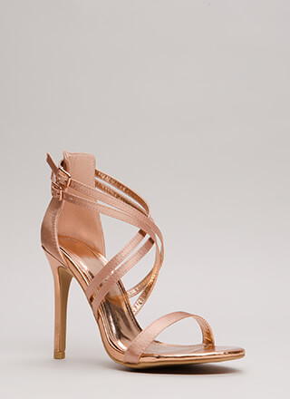 Style Double Strappy Satin Heels