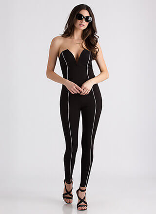 All Lines Up Strapless Plunging Jumpsuit