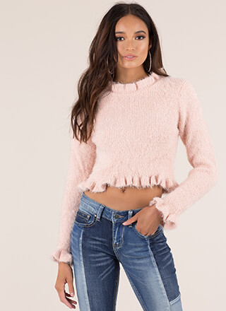 Frill Out Ruffled Fuzzy Knit Sweater