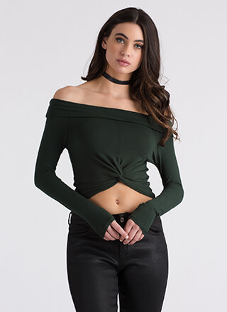 With A Twist Off-Shoulder Crop Top