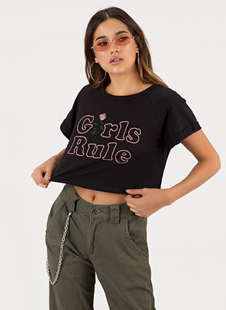 Girls Rule Rose Graphic Crop Top