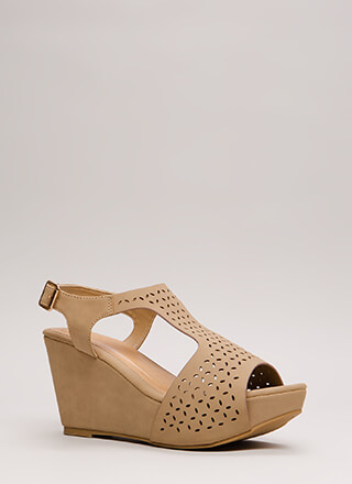 Open Your Eyelets Faux Nubuck Wedges
