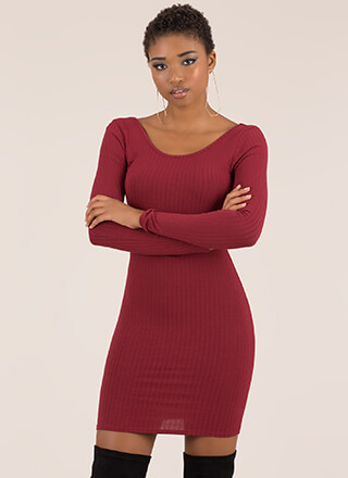 Back Into It Ribbed Scoop Neck Dress
