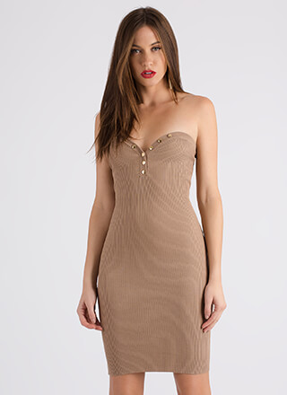 Oh Snap Ribbed Sweetheart Tube Dress
