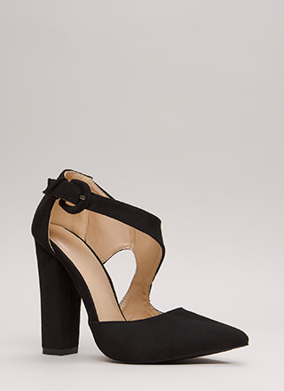 Swoop Dreams Chunky Cut-Out Pointy Heels