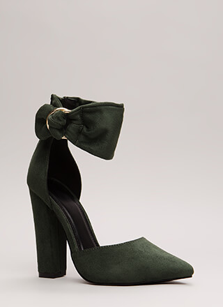 A Wrap Chunky Pointy Ankle Cuff Heels