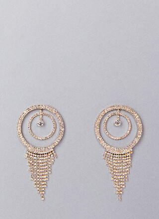 Fringe Fan Round Rhinestone Earrings