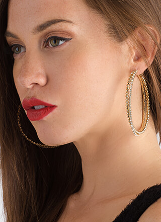 Hit It Big Skinny Jeweled Hoop Earrings