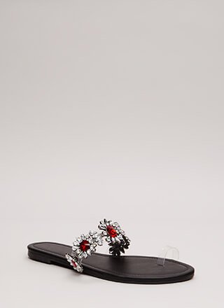 It's Clear Jeweled Flower Sandals