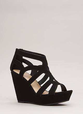 Make The Cut-Out Caged Platform Wedges