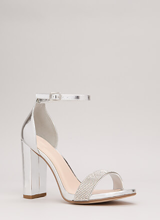 Say No More Jeweled Metallic Heels