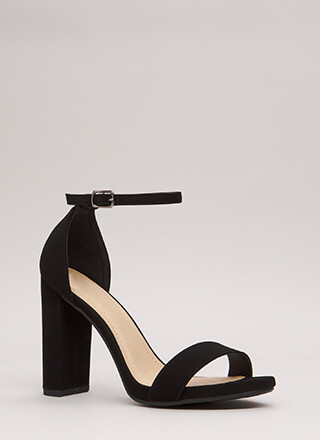 Find The One Chunky Faux Nubuck Heels