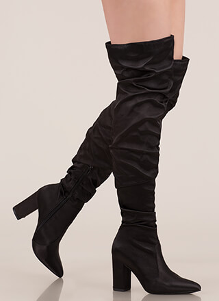 3ca66dab655 Pad Your Stats Slouchy Thigh-High Boots