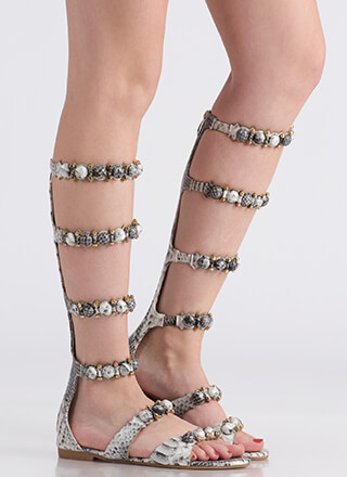 My Bubble Faux Snake Gladiator Sandals