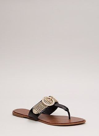 Jewel Thief Faux Patent Thong Sandals
