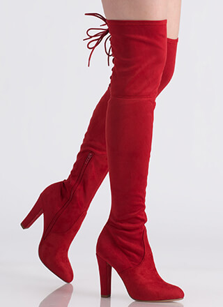 Tall Tale Lace-Back Thigh-High Boots