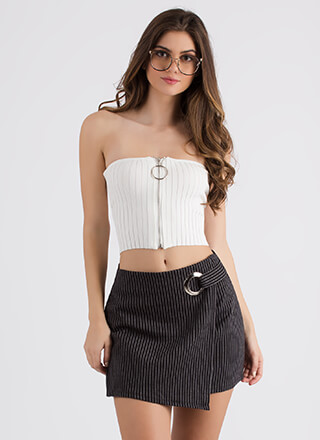 Ring Ring Ribbed Zip-Front Tube Top