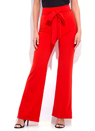 Gift Yourself Tied High-Waisted Pants