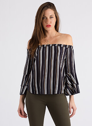 Back In Lines Striped Off-Shoulder Top