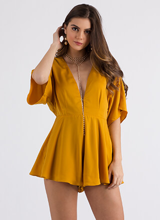 Easy Elegance Plunging Flared Romper