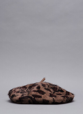 Spotted In A Leopard Faux Fur Beret
