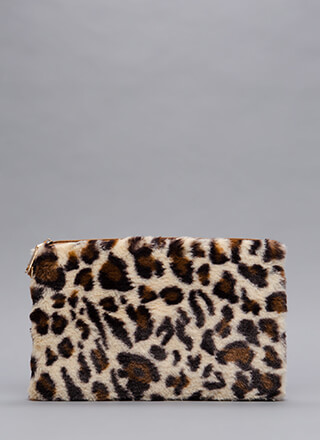 Lady And Leopard Faux Fur Clutch