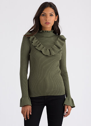 Ruffles For Days Ribbed Sweater Top