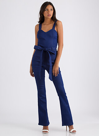 Denim Sweetheart Belted Jumpsuit