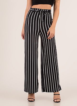 Lineup Belted Pinstriped Palazzo Pants