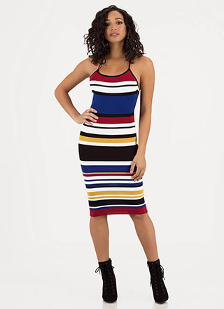df5c751c2c6 Print In Color Striped Knit Midi Dress