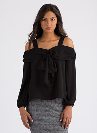 Easy Elegance Tied Cold-Shoulder Blouse