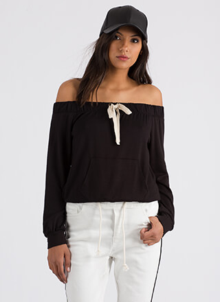 Taking The Day Off-Shoulder Sweatshirt