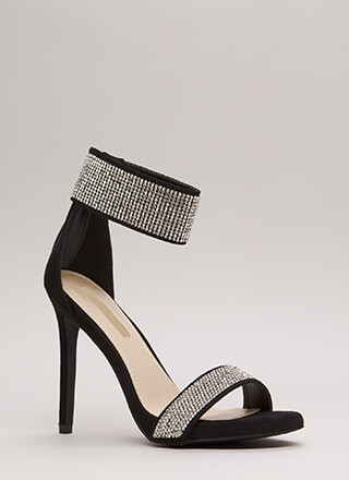 Sparkle Away Faux Suede Ankle Cuff Heels