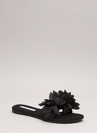 Flower Power Faux Suede Slide Sandals