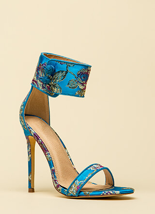 Fine China Embroidered Ankle Cuff Heels
