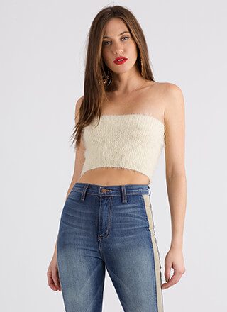 I Adore You Fuzzy Knit Tube Top