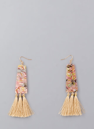 Party Of Three Marbled Tassel Earrings