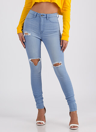 Let It Rip Distressed High-Waisted Jeans